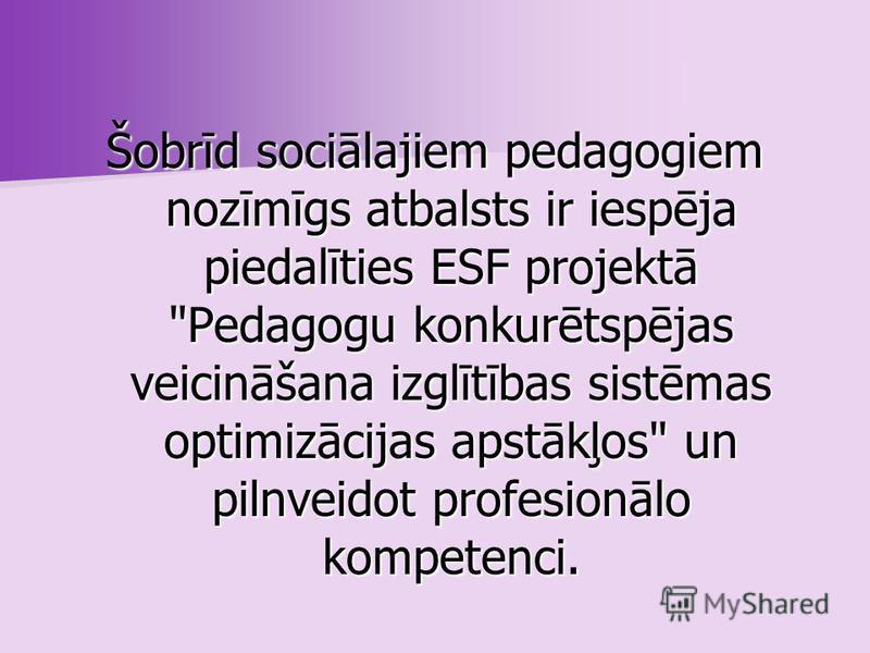 Sociālā pedagoga profesija LR Profesiju klasifikatorā tika iekļauta ar Labklājības ministrijas 1998. gada 9.oktobra rīkojumu. Ir pagājuši nepilni 12 gadi kopš pastāv jaunizveidotā profesija sociālais pedagogs Latvijā. Pa šiem gadiem ir izdarīts daudz