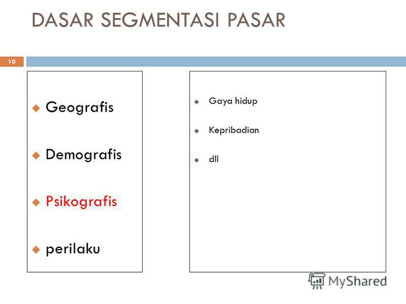 DASAR SEGMENTASI PASAR 10 Geografis Demografis Psikografis perilaku Gaya hidup Kepribadian dll