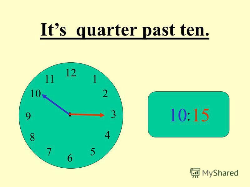 12 9 3 6 1 2 4 57 8 10 11 : 1015 Its quarter past ten.