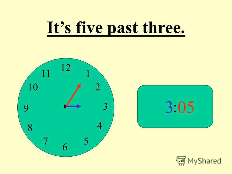12 9 3 6 1 2 4 57 8 10 11 : 305 Its five past three.