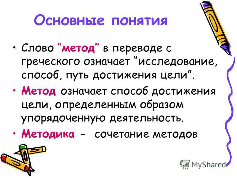 Основные понятия Слово метод в переводе с греческого означает исследование, способ, путь достижения цели. Метод означает способ достижения цели, определенным образом упорядоченную деятельность. Методика - сочетание методов