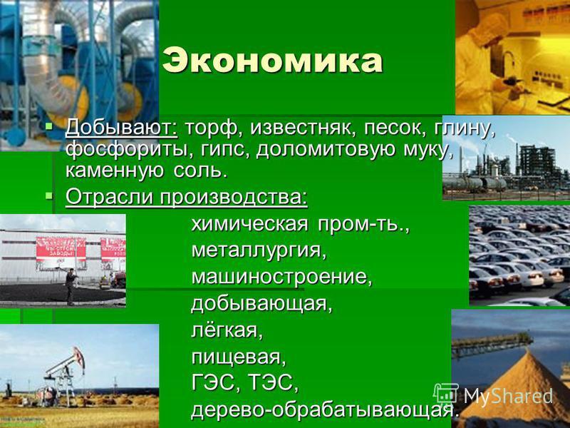 Экономика Экономика Добывают: торф, известняк, песок, глину, фосфориты, гипс, доломитовую муку, каменную соль. Добывают: торф, известняк, песок, глину, фосфориты, гипс, доломитовую муку, каменную соль. Отрасли производства: Отрасли производства: хими