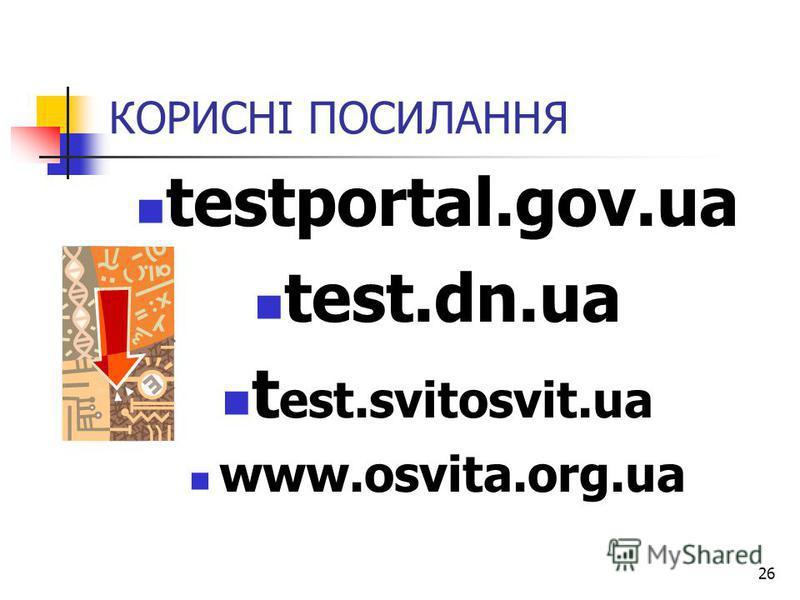 26 КОРИСНІ ПОСИЛАННЯ testportal.gov.ua test.dn.ua t est.svitosvit.ua www.osvita.org.ua