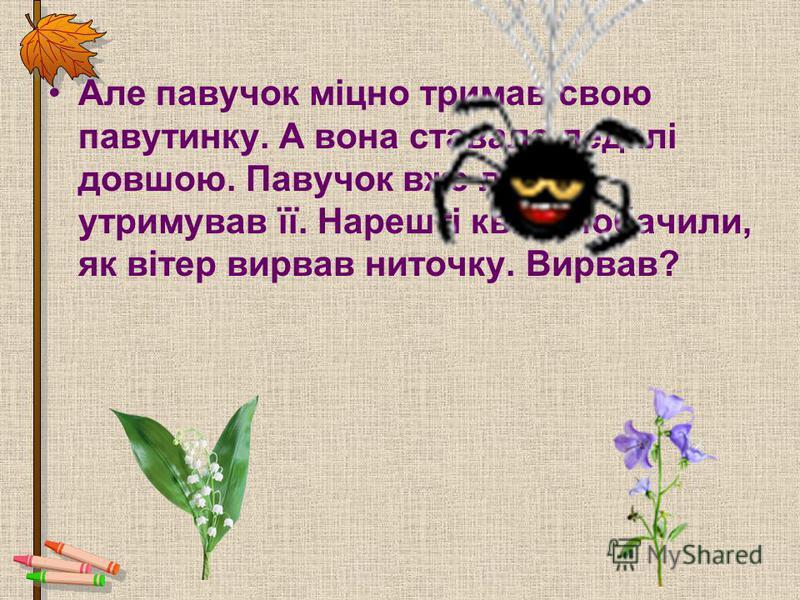Але павучок міцно тримав свою павутинку. А вона ставала дедалі довшою. Павучок вже ледве утримував її. Нарешті квіти побачили, як вітер вирвав ниточку. Вирвав?