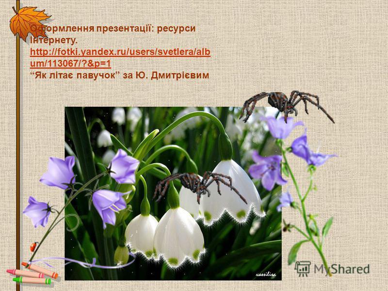 Оформлення презентації: ресурси Інтернету. http://fotki.yandex.ru/users/svetlera/alb um/113067/?&p=1 Як літає павучок за Ю. Дмитрієвим