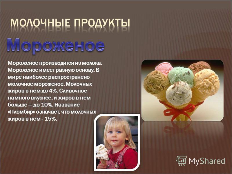 Мороженое производится из молока. Мороженое имеет разную основу. В мире наиболее распространено молочное мороженое. Молочных жиров в нем до 4%. Сливочное намного вкуснее, и жиров в нем больше до 10%. Название «Пломбир» означает, что молочных жиров в