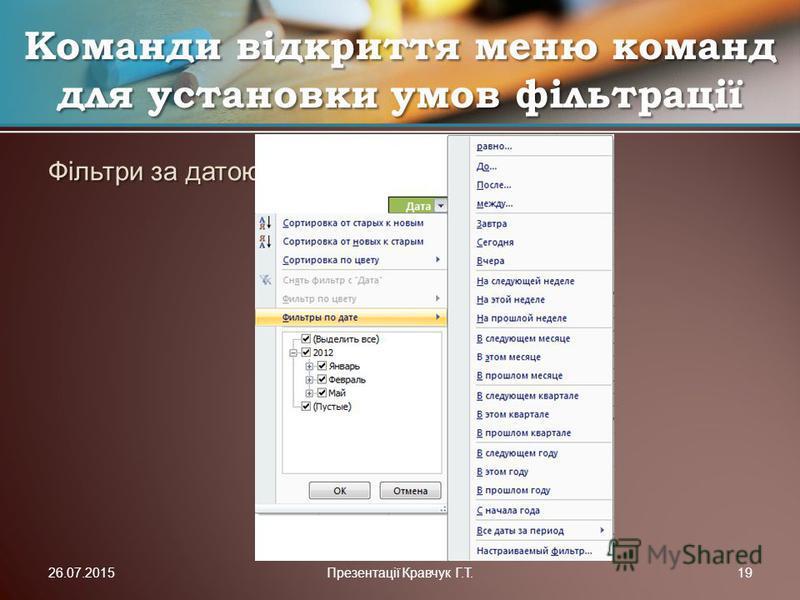 Фільтри за датою Команди відкриття меню команд для установки умов фільтрації 26.07.2015Презентації Кравчук Г.Т.19