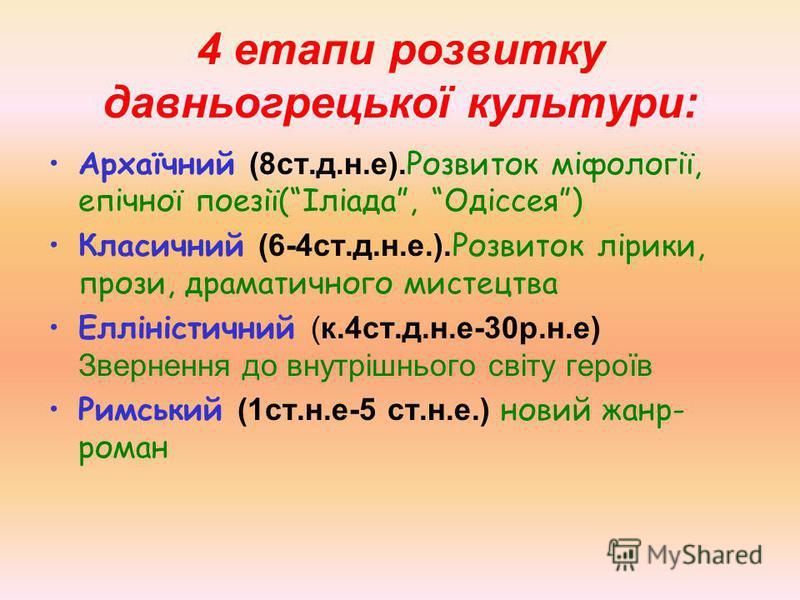 4 етапи розвитку давньогрецької культури: Архаїчний (8ст.д.н.е). Розвиток міфології, епічної поезії(Іліада, Одіссея) Класичний (6-4ст.д.н.е.). Розвиток лірики, прози, драматичного мистецтва Елліністичний (к.4ст.д.н.е-30р.н.е) Звернення до внутрішньог