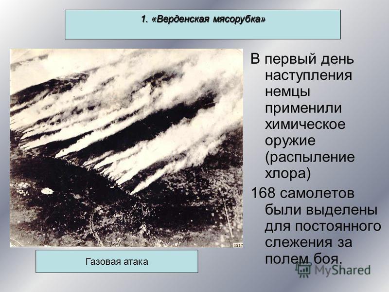 1. «Верденская мясорубка» В первый день наступления немцы применили химическое оружие (распыление хлора) 168 самолетов были выделены для постоянного слежения за полем боя. Газовая атака