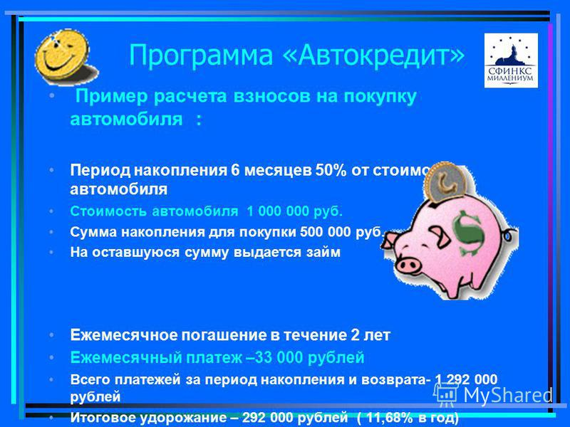 Пример расчета взносов на покупку автомобиля : Период накопления 6 месяцев 50% от стоимости автомобиля Стоимость автомобиля 1 000 000 руб. Сумма накопления для покупки 500 000 руб. На оставшуюся сумму выдается займ Ежемесячное погашение в течение 2 л