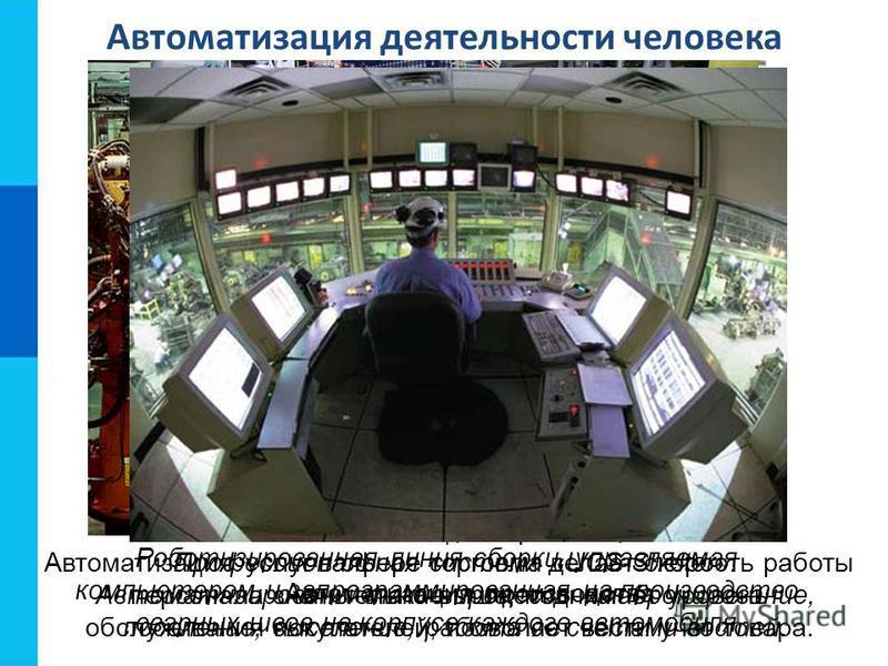 Роботизированная линия сборки, управляемая компьютером и запрограммированная на производство сварных швов на корпусе каждого автомобиля Автоматизация деятельности человека Автоматизация гостиниц. Профессиональная система «UCS-Shelter». Автоматизирова