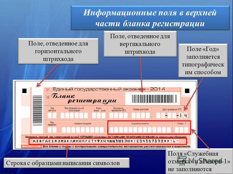 Информационные поля в верхней части бланка регистрации Строка с образцами написания символов Поле, отведенное для горизонтального штрихкода Поле, отведенное для вертикального штрихкода Поле «Год» заполняется типа графическим способом Поля «Служебная