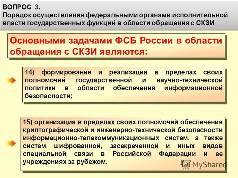 55 Основными задачами ФСБ России в области обращения с СКЗИ являются: 14) формирование и реализация в пределах своих полномочий государственной и научно-технической политики в области обеспечения информационной безопасности; ВОПРОС 3. Порядок осущест