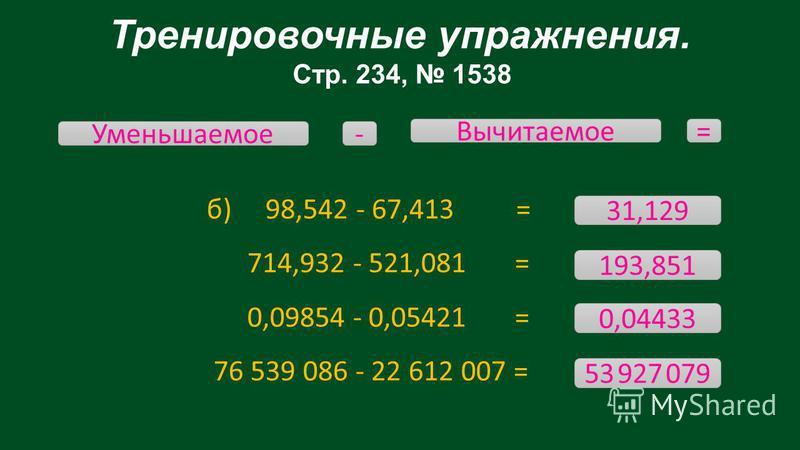 Тренировочные упражнения. Стр. 234, 1538 б) 98,542 - 67,413 = 714,932 - 521,081 = 0,09854 - 0,05421 = 76 539 086 - 22 612 007 = Уменьшаемое Вычитаемое - = 31,129 53 927 079 0,04433 193,851