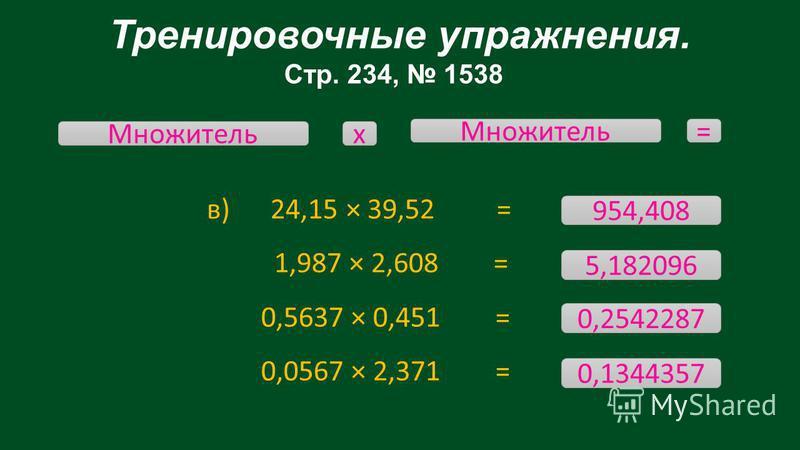 Тренировочные упражнения. Стр. 234, 1538 в) 24,15 × 39,52 = 1,987 × 2,608 = 0,5637 × 0,451 = 0,0567 × 2,371 = Множитель х = 954,408 0,1344357 0,2542287 5,182096