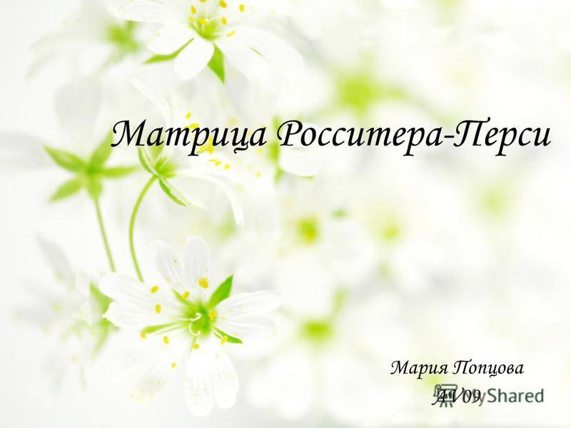 Матрица Росситера-Перси Мария Попцова AV09