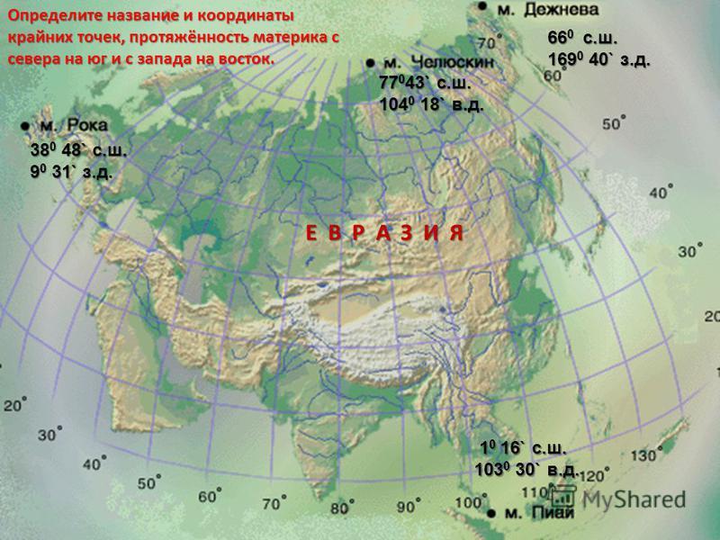 Определите название и координаты крайних точек, протяжённость материка с севера на юг и с запада на восток. 77 0 43` с.ш. 104 0 18` в.д. 1 0 16` с.ш. 1 0 16` с.ш. 103 0 30` в.д. 38 0 48` с.ш. 9 0 31` з.д. 66 0 с.ш. 169 0 40` з.д. Е В Р А З И Я