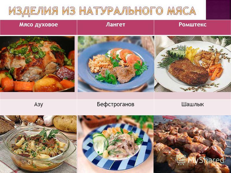 Мясо духовое ЛангетРомштекс Азу БефстрогановШашлык