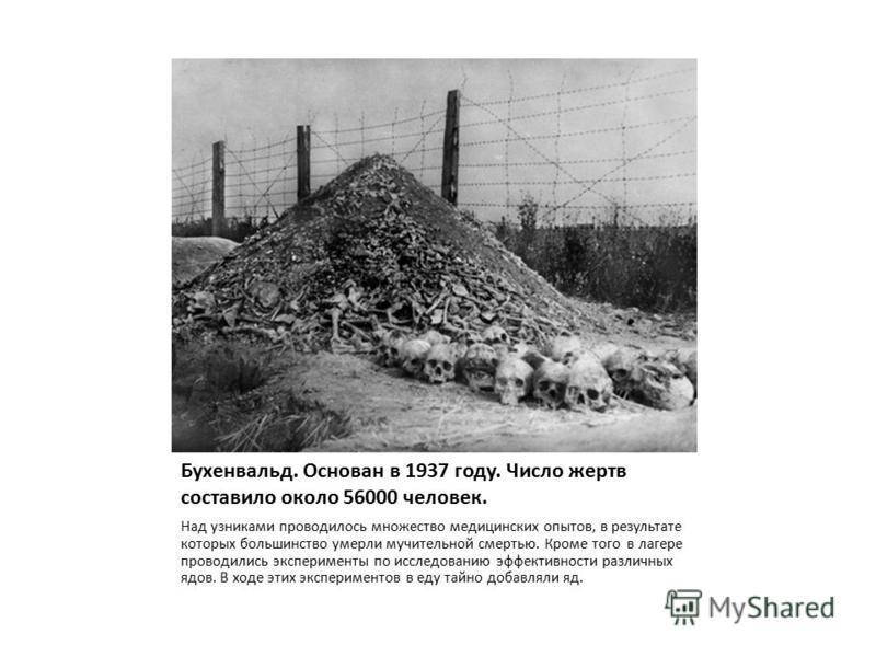 Бухенвальд. Основан в 1937 году. Число жертв составило около 56000 человек. Над узниками проводилось множество медицинских опытов, в результате которых большинство умерли мучительной смертью. Кроме того в лагере проводились эксперименты по исследован