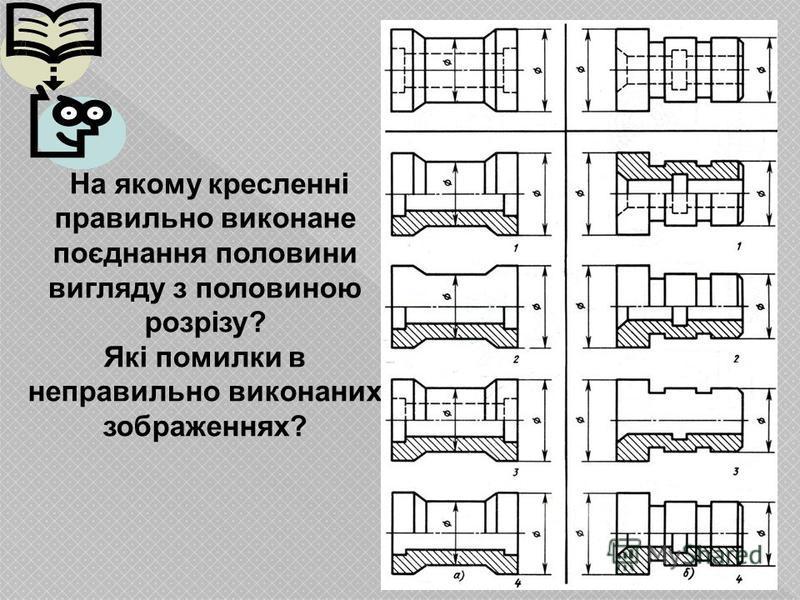 На якому кресленні правильно виконане поєднання половини вигляду з половиною розрізу? Які помилки в неправильно виконаних зображеннях?
