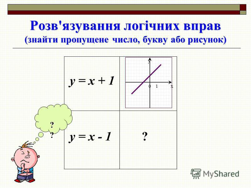 y = x + 1 y = x - 1 ? x y 01 ??