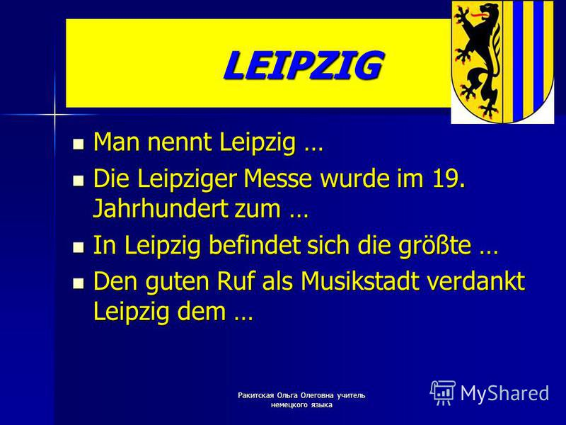 LEIPZIG Man nennt Leipzig … Man nennt Leipzig … Die Leipziger Messe wurde im 19. Jahrhundert zum … Die Leipziger Messe wurde im 19. Jahrhundert zum … In Leipzig befindet sich die größte … In Leipzig befindet sich die größte … Den guten Ruf als Musiks