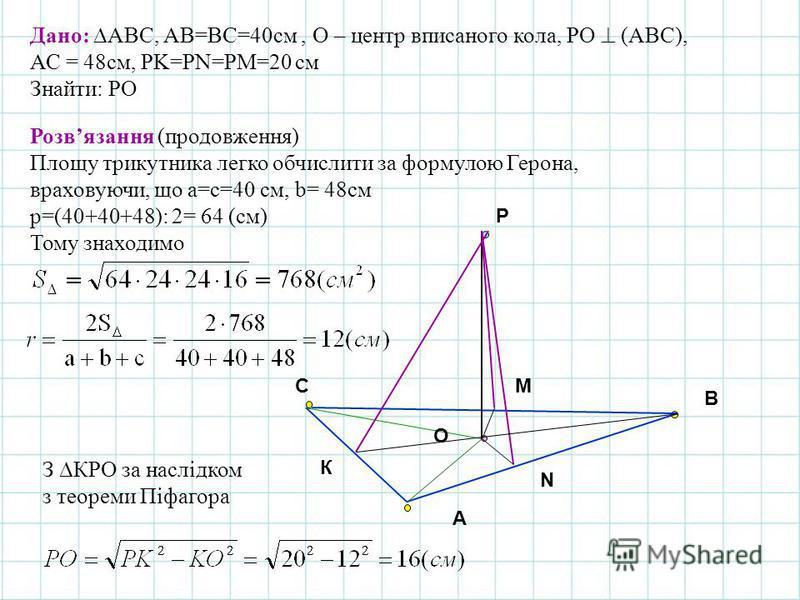 A B C O К Дано: АВС, АВ=ВС=40см, О – центр вписаного кола, РО (АВС), АС = 48см, РK=РN=РM=20 см Знайти: РO Р N M Розвязання (продовження) Площу трикутника легко обчислити за формулою Герона, враховуючи, що a=c=40 см, b= 48см р=(40+40+48): 2= 64 (см) Т