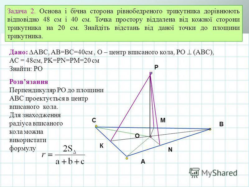 A B C O Задача 2. Основа і бічна сторона рівнобедреного трикутника дорівнюють відповідно 48 см і 40 см. Точка простору віддалена від кожної сторони трикутника на 20 см. Знайдіть відстань від даної точки до площини трикутника. К Дано: АВС, АВ=ВС=40см,