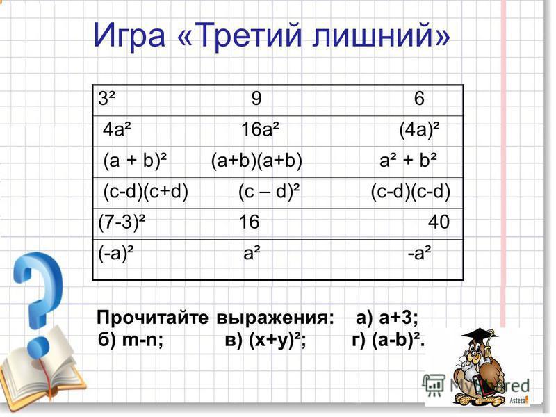 Игра «Третий лишний» Прочитайте выражения: а) а+3; б) m-n; в) (х+у)²; г) (а-b)². 3² 9 6 4 а² 16 а² (4 а)² (а + b)² (a+b)(a+b) a² + b² (c-d)(c+d) (c – d)² (c-d)(c-d) (7-3)² 16 40 (-a)² a² -a²