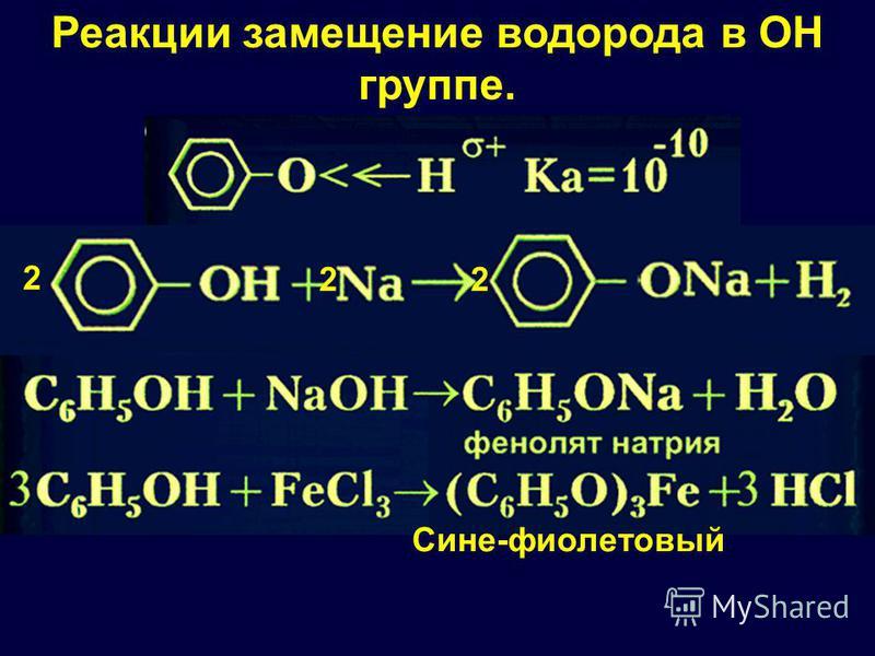 2 22 Реакции замещение водорода в ОН группе. Сине-фиолетовый