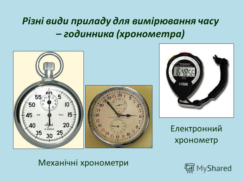 Різні види приладу для вимірювання часу – годинника (хронометра) Електронний хронометр Механічні хронометри