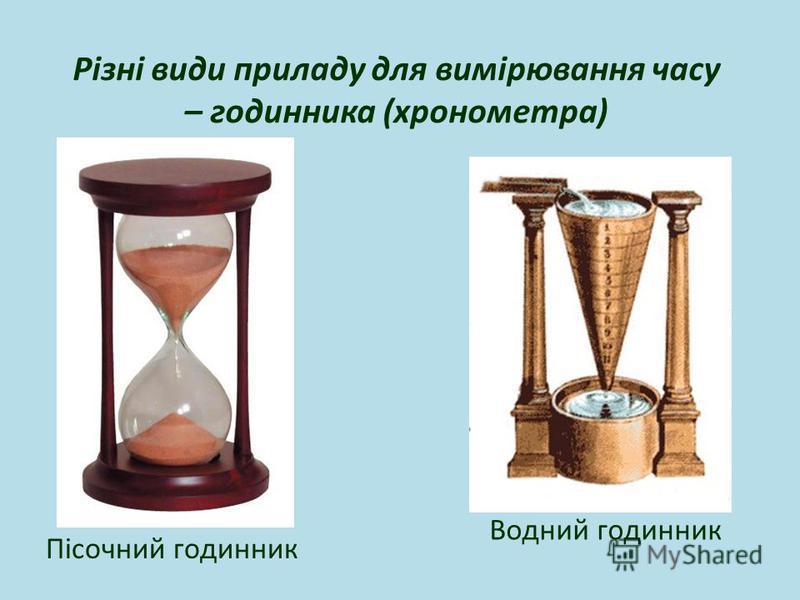 Пісочний годинник Водний годинник Різні види приладу для вимірювання часу – годинника (хронометра)