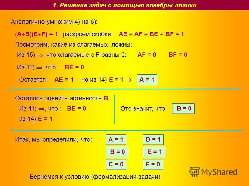 1. Решение задач с помощью алгебры логики Аналогично умножим 4) на 6): (A+B)(E+F) = 1 раскроем скобки:AE + AF + BE + BF = 1 Посмотрим, какие из слагаемых ложны: Из 15), что слагаемые с F равны 0: AF = 0BF = 0 Из 11), что : BE = 0 ОстаетсяAE = 1 но из