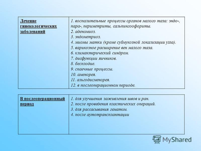 Лечение гинекологических заболеваний 1. воспалительные процессы органов малого таза: эндо-, пара-, периметриты, сальпингоофориты. 2. аденомиоз. 3. эндометриоз. 4. миомы матки (кроме субмукозной локализации узла). 5. варикозное расширение вен малого т