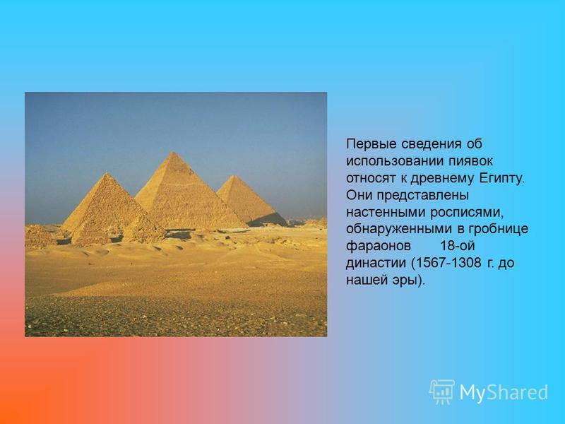 Первые сведения об использовании пиявок относят к древнему Египту. Они представлены настенными росписями, обнаруженными в гробнице фараонов 18-ой династии (1567-1308 г. до нашей эры).