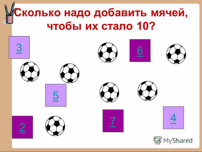 Сколько надо добавить мячей, чтобы их стало 10? 2 7 6 4 5 3