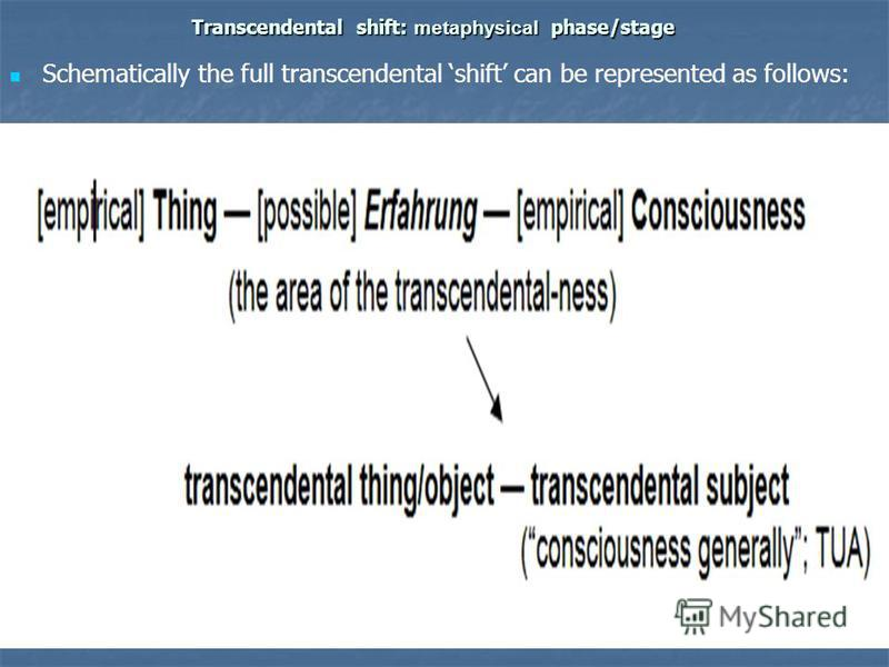 Transcendental shift: metaphysical phase/stage Schematically the full transcendental shift can be represented as follows: