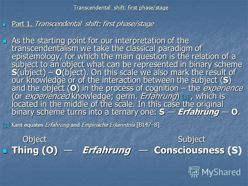Transcendental shift: first phase/stage Part 1. Transcendental shift: first phase/stage Part 1. Transcendental shift: first phase/stage As the starting point for our interpretation of the transcendentalism we take the classical paradigm of epistemolo
