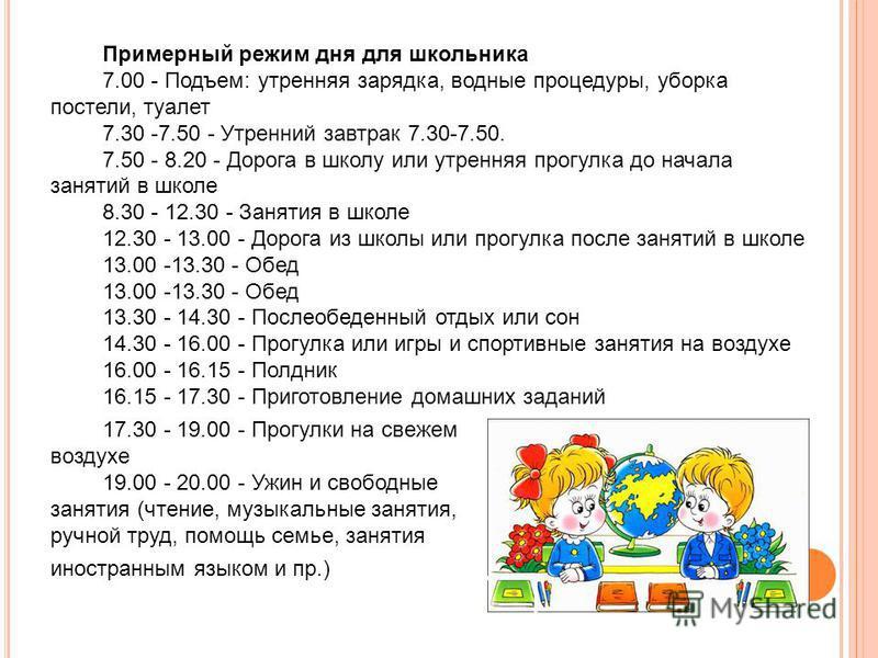 Примерный режим дня для школьника 7.00 - Подъем: утренняя зарядка, водные процедуры, уборка постели, туалет 7.30 -7.50 - Утренний завтрак 7.30-7.50. 7.50 - 8.20 - Дорога в школу или утренняя прогулка до начала занятий в школе 8.30 - 12.30 - Занятия в