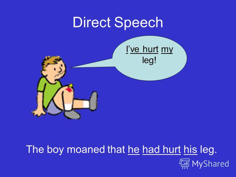 Direct Speech Ive hurt my leg! The boy moaned that he had hurt his leg.
