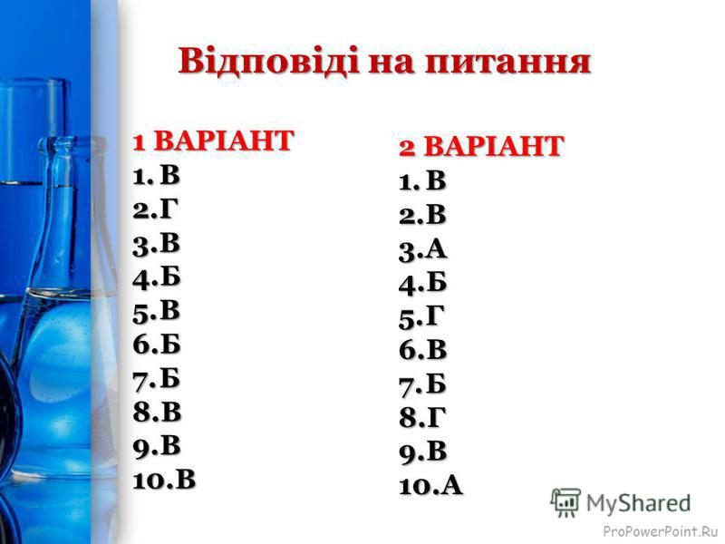 ProPowerPoint.Ru Відповіді на питання 1 ВАРІАНТ 1.В 2.Г 3.В 4.Б 5.В 6.Б 7.Б 8.В 9.В 10.В 2 ВАРІАНТ 1.В 2.В 3.А 4.Б 5.Г 6.В 7.Б 8.Г 9.В 10.А