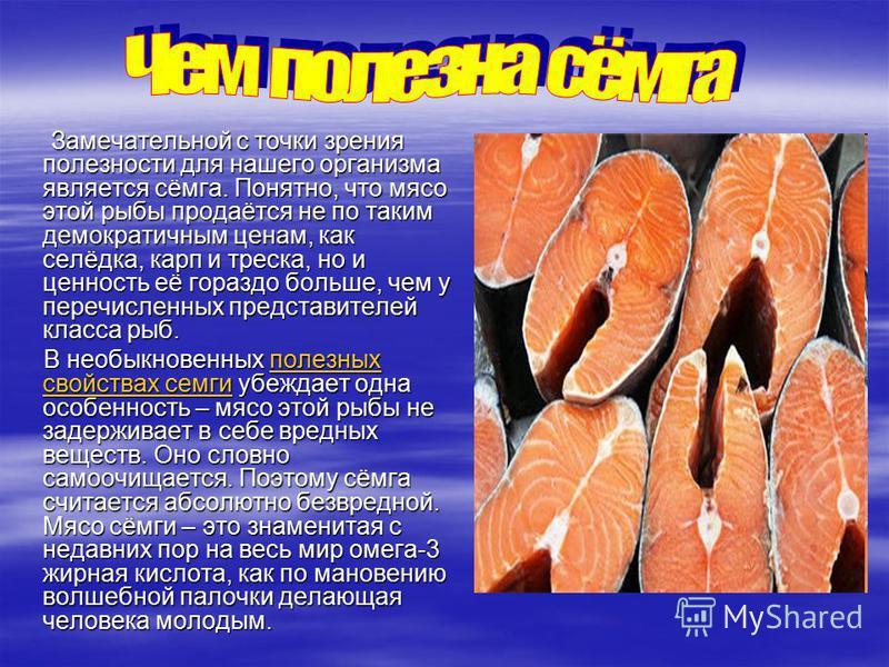 Замечательной с точки зрения полезности для нашего организма является сёмга. Понятно, что мясо этой рыбы продаётся не по таким демократичным ценам, как селёдка, карп и треска, но и ценность её гораздо больше, чем у перечисленных представителей класса