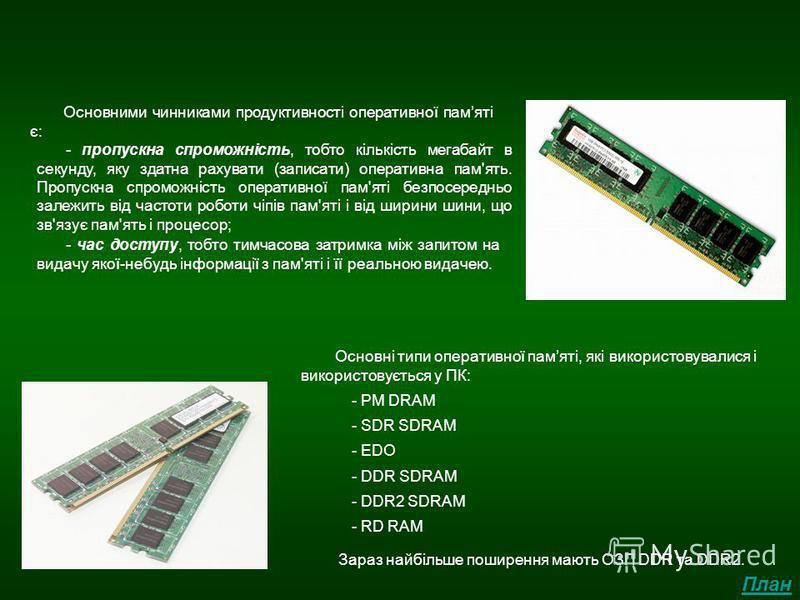 Архітектура оперативної пам'яті Основними чинниками продуктивності оперативної памяті є: Основні типи оперативної памяті, які використовувалися і використовується у ПК: - PM DRAM - EDO - SDR SDRAM - DDR SDRAM - RD RAM - DDR2 SDRAM Зараз найбільше пош