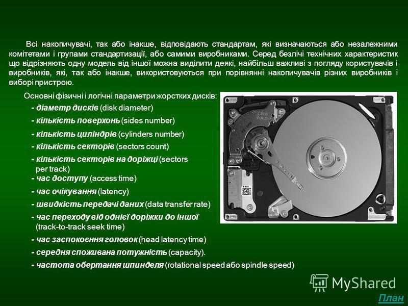 Основні параметри жорстких дисків Всі накопичувачі, так або інакше, відповідають стандартам, які визначаються або незалежними комітетами і групами стандартизації, або самими виробниками. Серед безлічі технічних характеристик що відрізняють одну модел