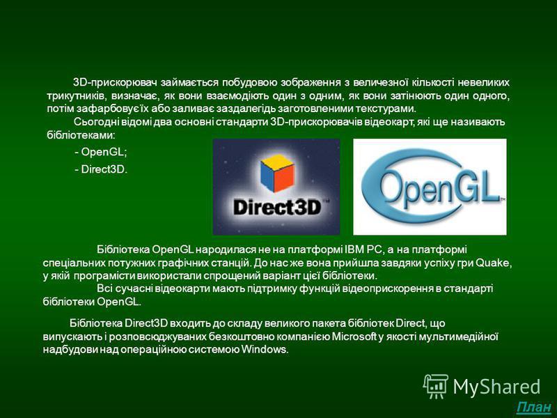 Графічні прискорювачі Сьогодні відомі два основні стандарти 3D-прискорювачів відеокарт, які ще називають бібліотеками: - OpenGL; - Direct3D. 3D-прискорювач займається побудовою зображення з величезної кількості невеликих трикутників, визначає, як вон