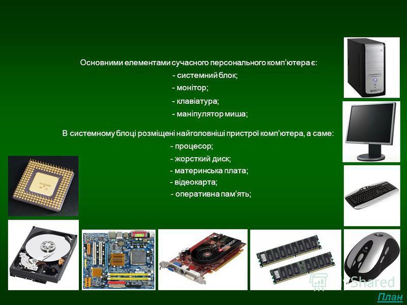 Висновок Основними елементами сучасного персонального компютера є: - системний блок; - монітор; - клавіатура; - маніпулятор миша; В системному блоці розміщені найголовніші пристрої компютера, а саме: - процесор; - жорсткий диск; - материнська плата;