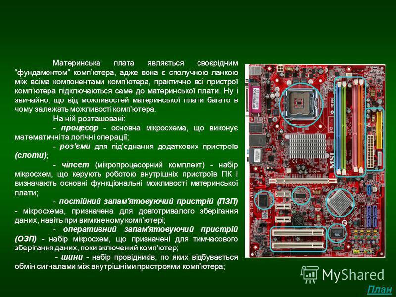 Материнська плата Материнська плата являється своєріднимфундаментом компютера, адже вона є сполучною ланкою між всіма компонентами комп'ютера, практично всі пристрої компютера підключаються саме до материнської плати. Ну і звичайно, що від можливосте