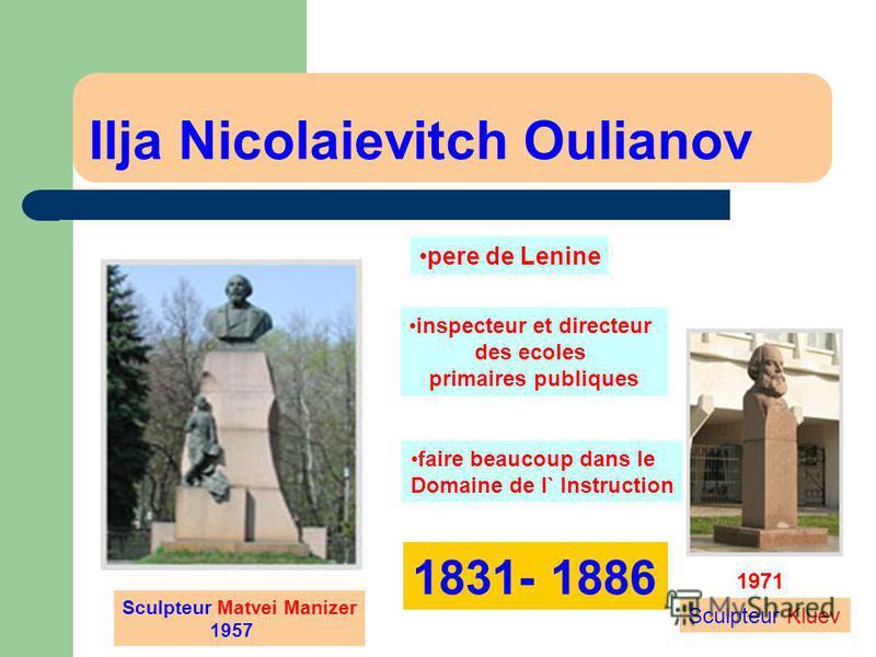 Ilja Nicolaievitch Oulianov inspecteur et directeur des ecoles primaires publiques Sculpteur Matvei Manizer 1957 1971 Sculpteur Kluev pere de Lenine faire beaucoup dans le Domaine de l` Instruction 1831- 1886