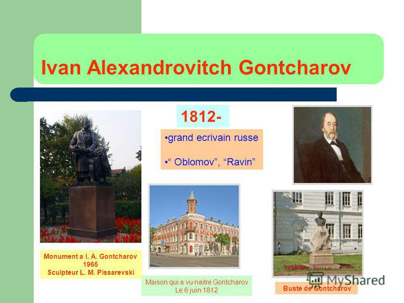 Ivan Alexandrovitch Gontcharov grand ecrivain russe Oblomov, Ravin 1812- Maison qui a vu naitre Gontcharov Le 6 juin 1812 Buste de Gontcharov Monument a I. A. Gontcharov 1965 Sculpteur L. M. Pissarevski