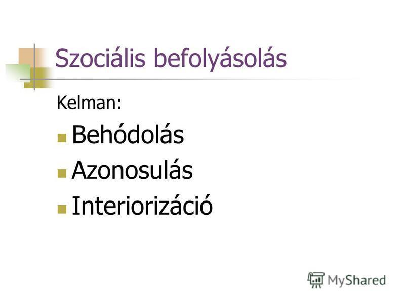 Szociális befolyásolás Kelman: Behódolás Azonosulás Interiorizáció